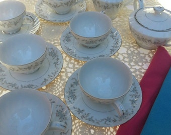 Tea Set,Blue Roses,Shabby Chic, Weddings,  China cup and saucers, Cream and Sugar, China, vintage china, vintage tea set