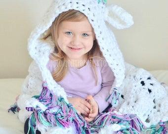 Crochet Unicorn Blanket | hooded unicorn blanket, unicorn blanket, rainbow unicorn blanket, kids unicorn blanket, adult unicorn blanket
