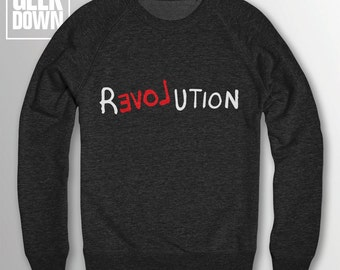 Love Revolution sweatshirt // peace / love / hipster sweatshirt / hipster clothing / hipster jumper / hipster sweater