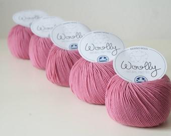 Merino wool yarn, DMC Woolly, 50 g per skein, knitting yarn, crochet yarn, knitting thread, soft wool, merino yarn, colour 043