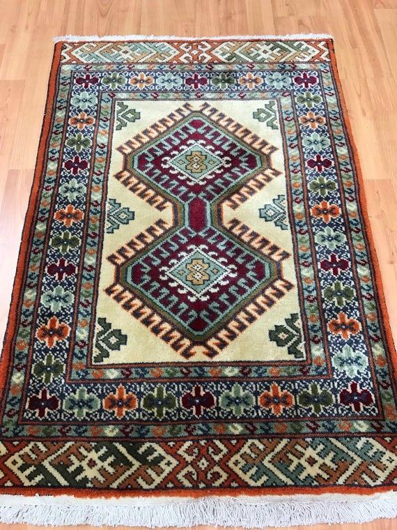 "2'1"" x 3'1"" Persian Turkeman Oriental Rug - Hand Made - 100% Wool"