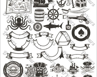 Pirates Vector Files Skull Ship Anchor Octopus Helm Shark Map Chest - svg cdr ai pdf files Instant Download Files for Laser Cutting Printing