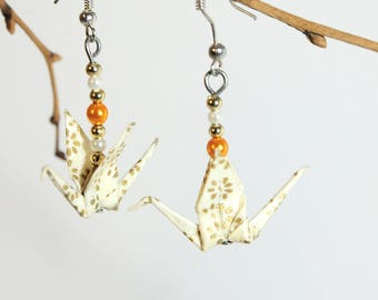 """Cranes white Nuptial"" origami earrings"