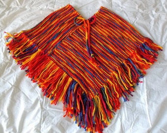 Girl's Hand Knitted Poncho, Girl's Hand Knitted Multi-color Poncho