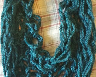 Handmade Arm Knitted Teal Infinity Scarf