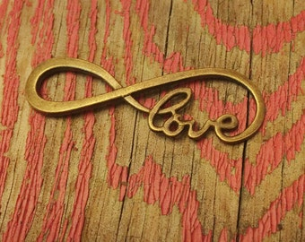 Bronze Love Infinity Connector / 5 Infinity Love Charms / Jewelry Making Findings / 38x13mm KBJ