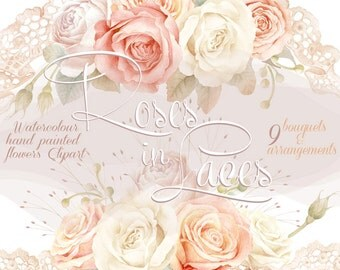Watercolour Clipart Collection - Gentle Roses in Laces, Bouquets & Arrangements, Wedding invitation, DIY, greeting card, PNG, Scrapbooking