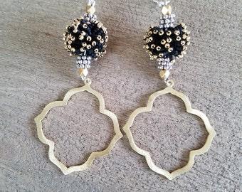 Moroccan Black Beaded Earrings