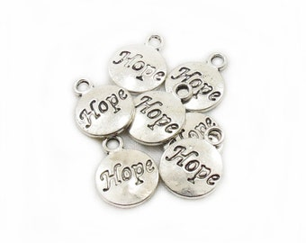 Antiqued Hope Charms, 15x12mm Hope Charms, Metal Hope Charms, 7pcs Hope Charms, Jewelry Making, Craft Supplies