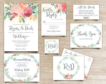 Peony Wedding Invite, Boho Chic Invite, Calligraphy Invite, Handpainted Invite, Bohemian Invitation, Printable Wedding Invite