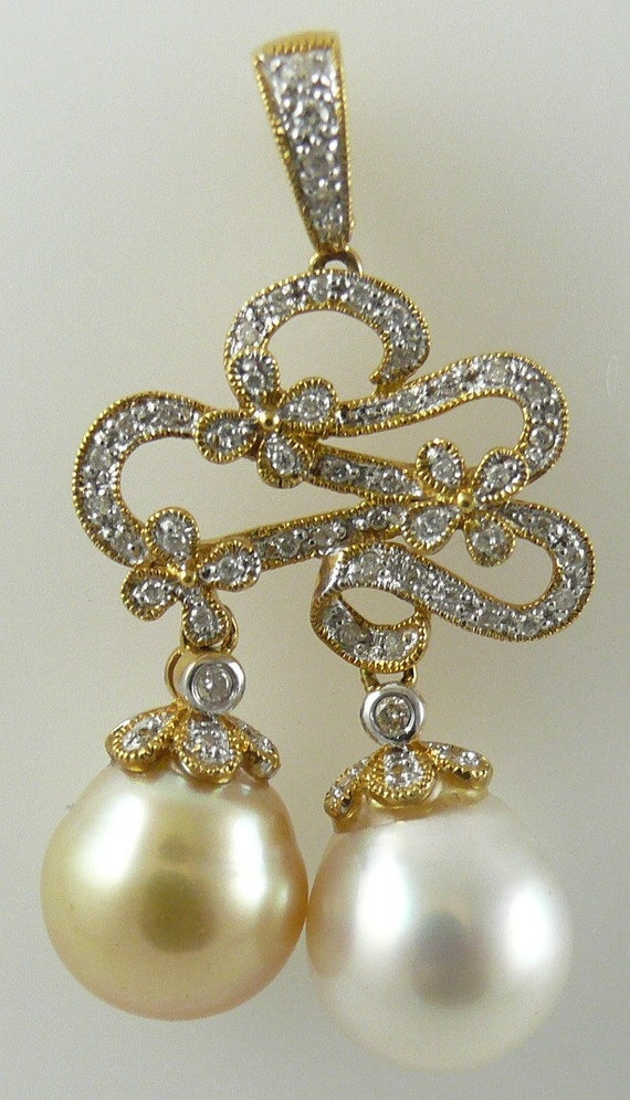 South Sea White and Golden Pearl 12.2mm Pendant 18K Yellow Gold and Diamonds 0.34ct
