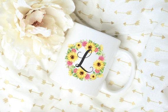 Custom Letter Watercolor Sunflower Wreath Sublimation Mug, 2 Sided