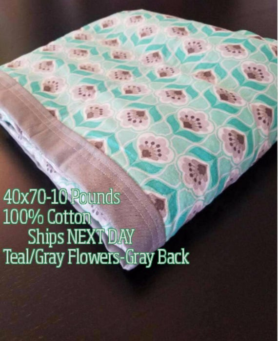 Weighted Blanket, 10 Pound, Teal, Gray, Mint, Flowers, 40x70, READY TO SHIP, Twin Size, Adult Weighted Blanket, Next Business Day To Ship