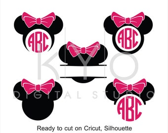 Minnie Ears SVG cut files, Mouse Ears SVG, Mouse Head svg, Minnie Mouse monogram svg, Minnie svg files for Cricut and Silhouette Cameo