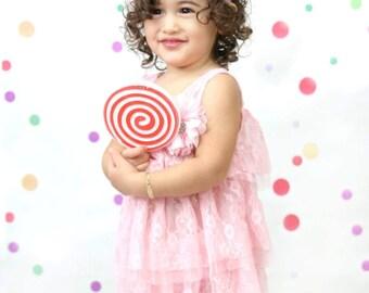 Pink Lace Baby Dress, Flower Girl Dress, Chiffon Lace Dress, Baby Girl Dress for Wedding, Toddler Girl Dress and Headband Set, Pink