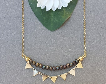 Pyrite Sunburst Necklace in Gold >> Made-To-Order >> Chocolate Pyrite Gemstones with Shiny, Gold Triangles >> Gemstone Jewelry, Boho Style
