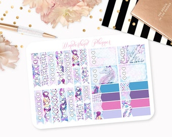 Watercolour Mermaid - Sea Life Themed Planner Stickers // Checklists // Perfect for Erin Condren Vertical Life Planner