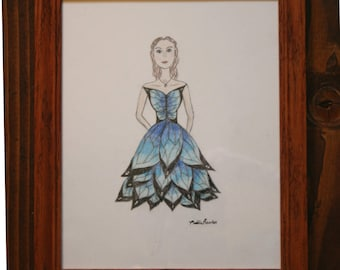 Butterfly Dress Drawing - Blue