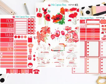 HCP187 Red Flowers Garden Weekly Set (3 Pages)