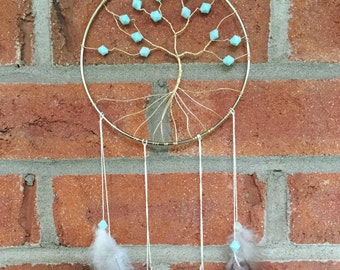 6inch Tree Of Life Dream Catcher Light Blue