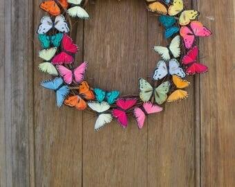 Spring Wreath, Butterfly Wreath, Butterfly, Summer Wreath, Colorful Wreath, Butterfly Decor, Front Door Wreath, Door Decor, Rainbow Wreath