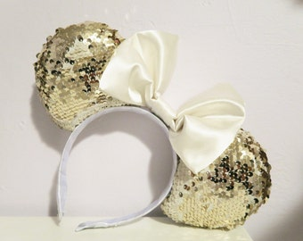 White and Gold Mermaid Flip Sequin Mouse Ears