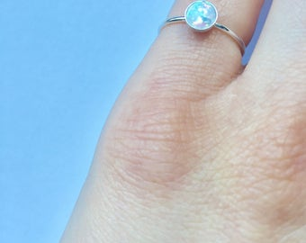 Sterling silver opalite pinky ring (size 5)