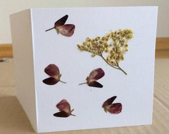 Dried Pressed Flowers Card, Pressed Flowers Greeting Card