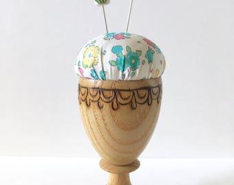 Pincushion, Handmade Pincushion, Eggcup Pincushion, Teacup Pincushion, Mini Pincushion, Liberty Pincushion, Liberty of London, Floral, Blue