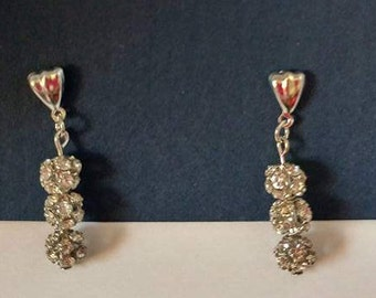 Silver post earrings with silver ball bead and silver fishhook