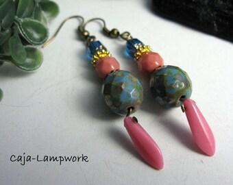 Vintage/boho, playful ear tunics, turquoise-pink