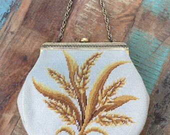 1950s Cross Stitched Wheat Carpet Tapestry Purse