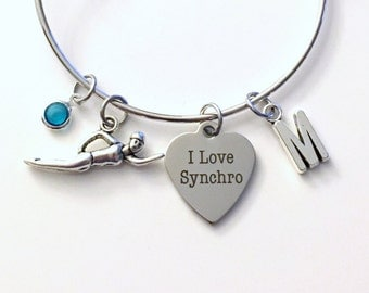 Synchronized Swimmer's Bracelet, I love Syncro Swimming Swim Jewelry Charm Bangle Silver initial Gift for Daughter Teen Girl birthstone