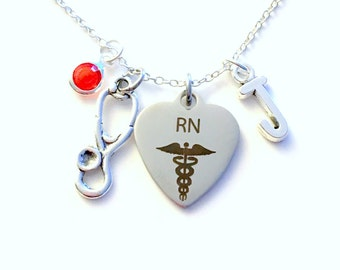 RN Necklace, RN Nurse Jewelry, Gift for RN Nursing Student Silver Charm Initial Birthstone birthday Christmas present Canadian Seller Canada