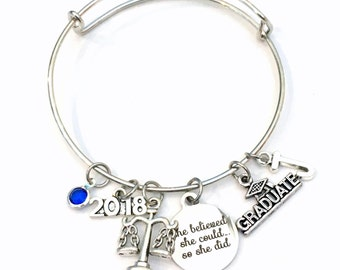 Gift for Legal Secretary Graduation Bracelet, 2017 2018 Lawyer Grad Gift, Law Assistant Student Graduate, she believed Bangle Jewelry Charm