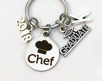 Culinary Graduation Present, 2017 2018 Chef Keychain, Gift for Graduate Key Chain Grad Keyring with Initial letter, Congrats Cooking Pastry