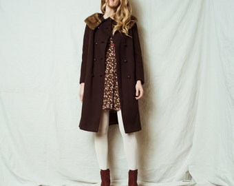 Rad Vintage Chocolate Brown Wool Coat / XS S / 60s vintage coat jacket retro hipster wool a-line overcoat with fur collar