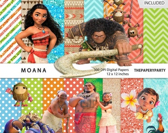 Moana Polynesian Princess Inspired 12 x 12 inches Digital Papers 300 dpi clip art