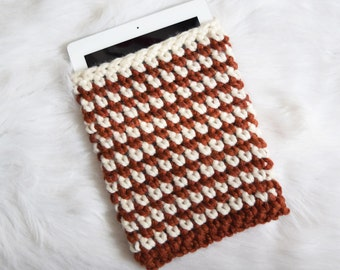 Stripe iPad Sleeve - Knit Tablet Cozy - Chunky Knitted Crochet Orange Cream Two-Color Reader Case