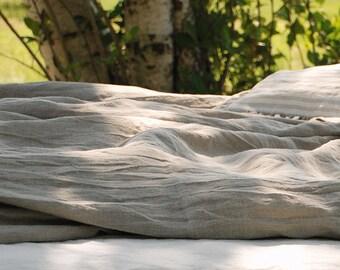 Linen duvet cover natural flax grey - heavier linen bedding - washed linen doona cover - Twin Queen King duvet cover - soft linen bedding