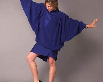 Vintage 80s Blue Batwing Billowy Unstructured Kimono Cocoon Dress 14 L
