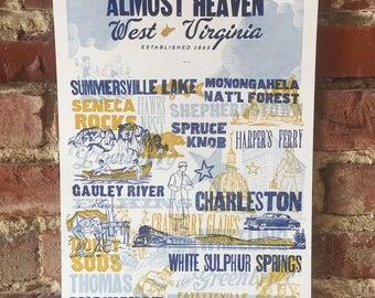 Almost Heaven Letterpress Print