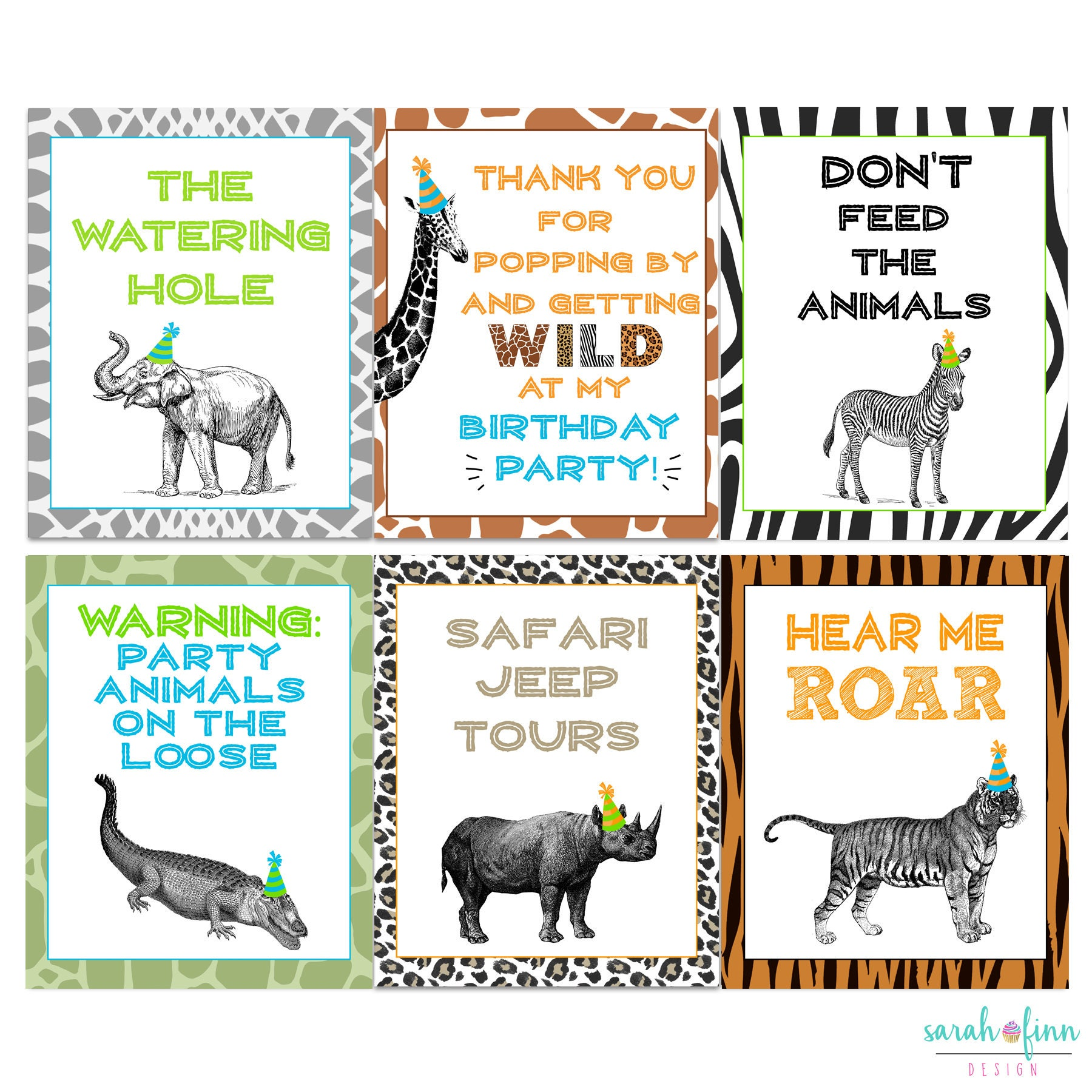 zoo signs animal party wild birthday sign safari printable jungle giraffe tiger elephant theme decorations etsy instant boy don name