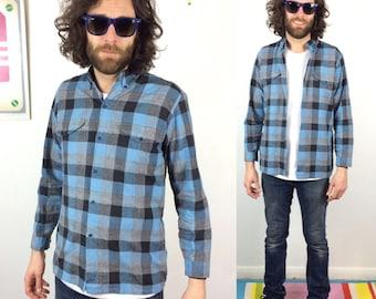 Grunge Flannel Shirt 90s BUFFALO PLAID Check Shirt Light Blue Grey Lumberjack Button Down Cotton Vintage Long Sleeve 1990s Size Xs to Small