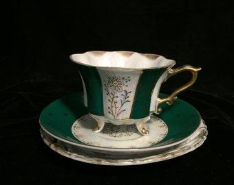 Vintage Green Teacup & Plates