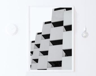Modern Urban Poster, Urban Architecture Photo Print, Modern PRINTABLE Art, Black and White Photography, Print DOWNLOAD, Digital Print 20x30