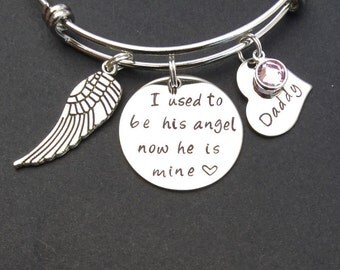 I used to be his angel now he is mine Bracelet - Memorial Jewelry - Guardian Angel - Daddy Loss - Bereavement Gift - Keepsake Jewelry