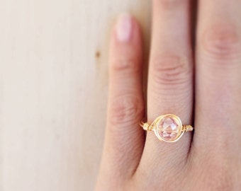 Pink Glass Stacking Ring, Glass Bead Ring, Gemstone Rings, Wire Wrap Rings, Dainty Ring, Skinny Stacking