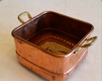vintage copper brass planter box container - made in turkey 1960's - hammered art pot rustic deco primitive antique floral flower patio