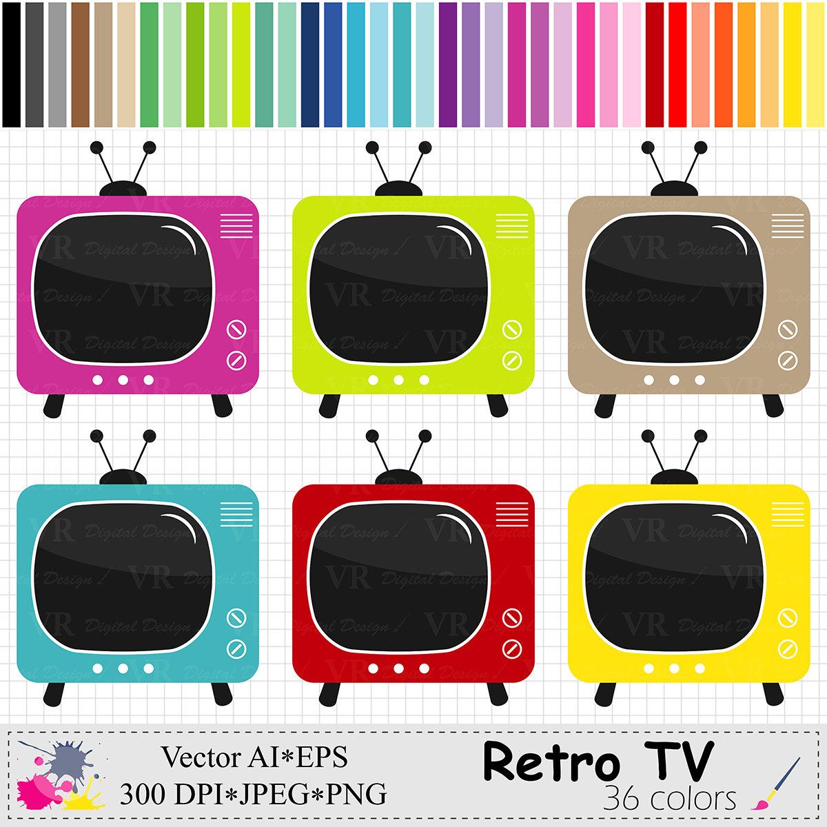 Retro TV Clip Art Television Clipart Rainbow Vintage TV